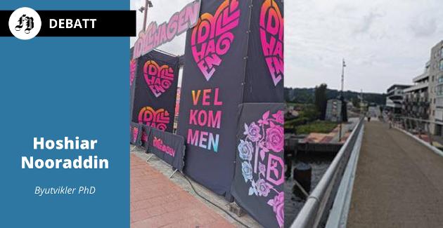 Kontraster mellom de to sidene av Vesterelven i Fredrikstad sentrum.