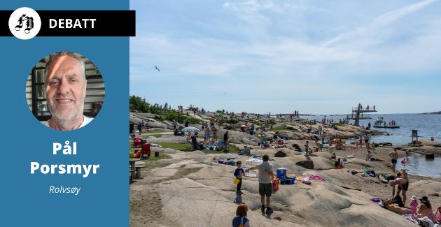 Folksomt på stranda. Pål Porsmyr mener kravet til utbanitet gjør at vi bør få mulighet til å ta oss  dit uten å bruke egne fremkomstmidler.