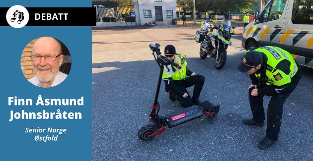 Senior Norge Østfold har en lang kravliste til samferdselsministeren. Arkivbilde av politiet i Oslo som sjekker en elsparkesykkel som ble målt til å ha en toppfart på 58 km/t.