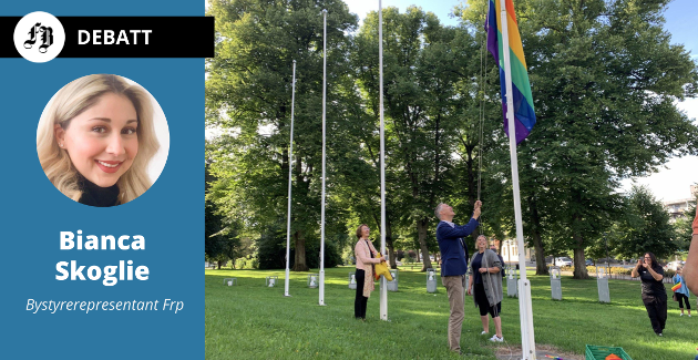 Pride-flagg ble heiset på flaggstengene utenfor rådhuset mandag. Der skal de bli stående hele uken. Med på heisingen var domprost Kari Mangrud Alvsvåg (f.v.), ordfører Jon-Ivar Nygård og Hege Hansen i Fredrikstad Pride.
