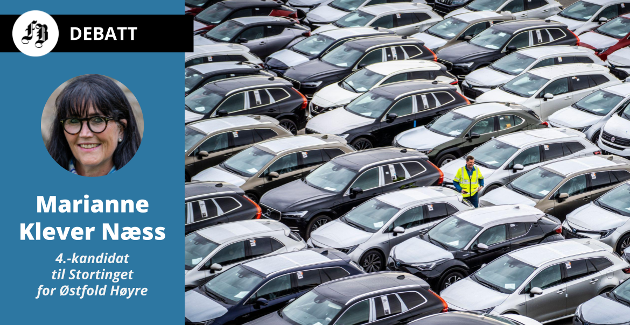 – Alle nye personbiler og lette varebiler skal være utslippsfrie i 2025, skriver Klever Næss. Bilde fra Drammen havn som tar imot 70 prosent av alle bilder som kommer til Norge.