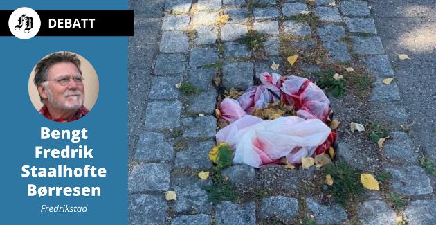 Plastposen på Evjekaia er en midlertidig løsning i påvente av ny lyktestolpe. Med den som utgangspunkt skriver Børresen om  udugelighet som han mener griper om seg på en rekke områder.