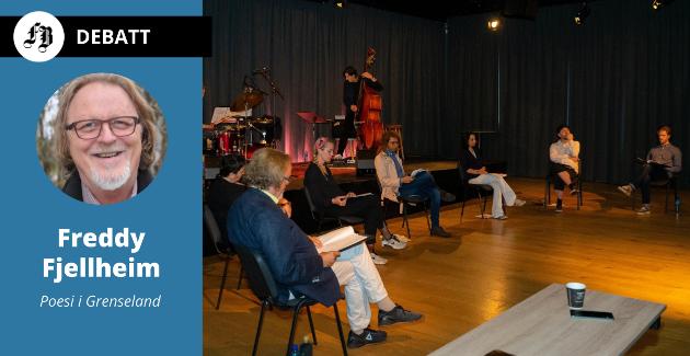 Fra Poesi i Grenseland på Litteraturhuset for to og en halv uke siden. Festivallleder Freddy Fjellheim (til venstre på bildet) er meget kritisk til Litteraturhusets bidrag til arrangementet.