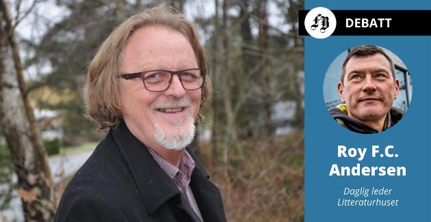 Freddy Fjellheim kom med besk kritikk av Litteraturhuset. Daglig leder svarer med å rose ham for å være våpendrager  med mange originale ideer på vegne av kunsten.