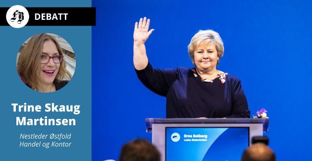 Brevforfatter Skaug Martinsen sier farvel til statsminister Erna.