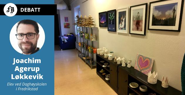 Elevarbeider fra Daghøyskolen der opplæring i ulike kunstuttrykk står sentralt. Skolen gir ikke gir danningspoeng eller jobberfaring, men er et sted hvor en kan vokse og utvikle seg, forteller Joachim Agerup Løkkevik.