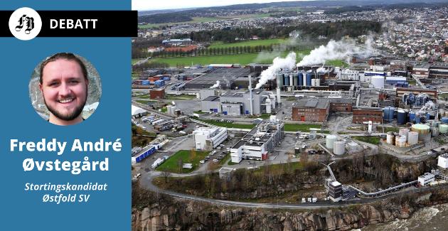 – Alt fra biodrivstoff til bindingsmiddel i asfalt kan lages av tømmer, skriver Øvstegård. Bilde av Borregaards fabrikkområde i Sarpsborg.