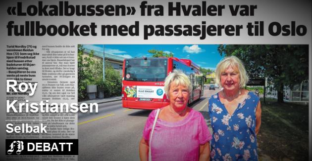 Venninne  Turid Nordby (71, til venstre) og Reidun Hox (72) fikk ikke plass på bussen fra Hvaler til Fredrikstad søndag. – Det er noe nytt, klager Roy Kristiansen. Faksimile: FB fra mandag