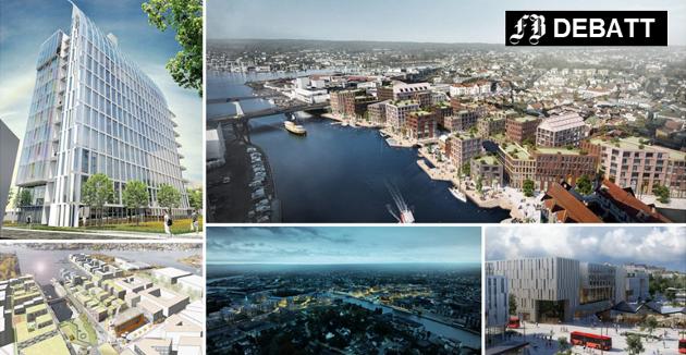 Storprosjekter som hver for seg vil forandre Fredrikstad sentrum:  Cicignon park (oppe til venstre), Trosvikstranda (oppe til høyre), Jotne (nede til venstre), Værste (midten nede) og Grønli stasjon (nede til høyre). Tilfredsstiller de Trond Svandals krav til fremragende arkitektur?