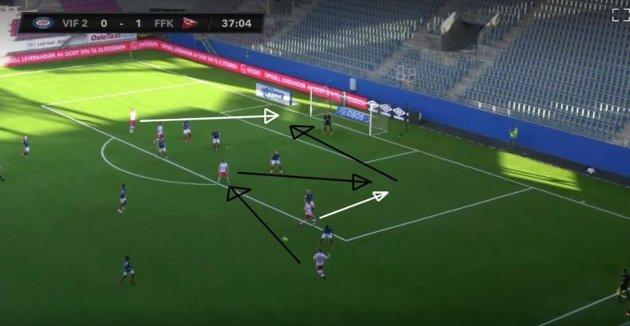 Her ser vi et eksempel på FFKs smarte og gode pasningsspill som kun var en god klarering unna å bli et strålende mål.