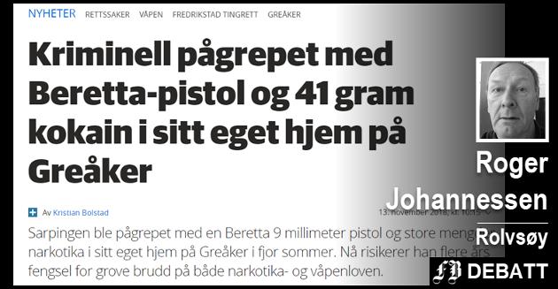 Roger Johannessen: –  Hvor «kriminell» må en person være for at begrepet kan brukes? Hvor lenge er en person «kriminell»? Faksimile fra f-b.no
