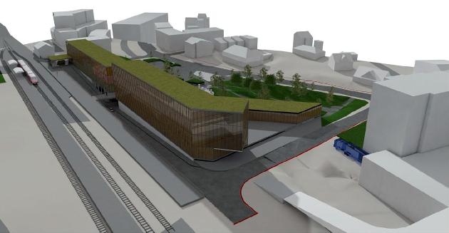 SAMBRUKSHUS: Nærbø skal få nytt sambrukshus med helse- og kulturfunksjonar. Desse skissene viser kor mykje som kan byggjast. Bygga kjem ikkje til å sjå slik ut, men er laga for å få eit visuelt inntrykk av kor mykje som kan byggjast.