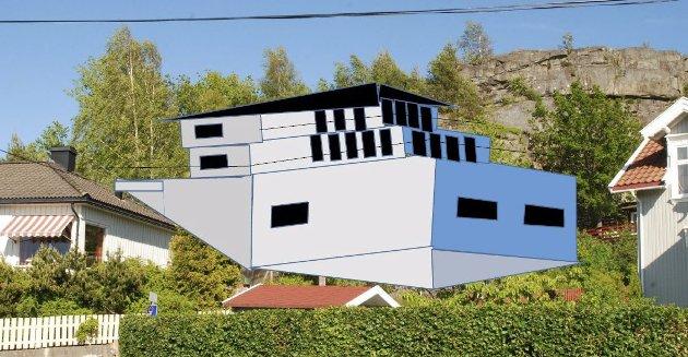 Hvordan nybygget kan bli: Vi ønsker å se prosjektet i tredimensjonal fremstilling, skriver Adrone M. S. Olafsen. Illustrasjon: Artikkelforfatteren