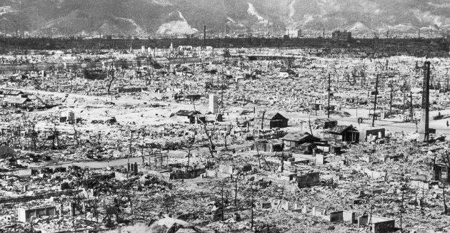 Ødeleggelsene etter atombomben over Hiroshima. Bildet er tatt av det amerikanske forsvaret i august 1945.