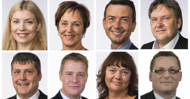TAUSE: De nordnorske stortingsrepresentantene fra regjeringspartiene: Margunn Ebbesen (H) Johnny Finstad (H) fra Vestvågøy, Hanne Dyveke Søttar (Frp), Marianne Haukland (H), Bengt Rune Strifeldt (Frp), Dagfinn Henrik Olsen (Frp), Per-Willy Amundsen (Frp) og Kent Gudmunsen (H).
