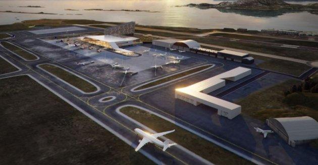 STORT PROSJEKT: Slik ser Avinor for seg at flyplassen i Bodø skal bli etter at rullebanen er flyttet 900 meter. Nå knuses drømmen i en ny rapport.
