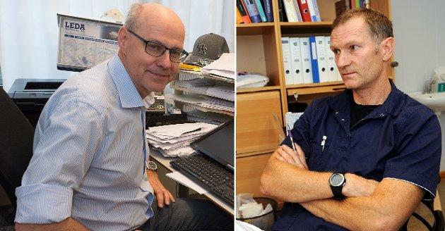 BER: – Vi ber innstendig politikere og administrasjon om komme i dialog med fastlegekorpset, fremfor å fremme nye lite gjennomtenkte løsninger, skriver fastlegene Morten Breiby(t.v.) og Dag Lunder.