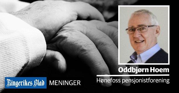 FLERE SYKEHJEMSPLASSER: – Antall og andel eldre som er over 80 år vil dobles fram mot 2040, skriver Oddbjørn Hoem i Hønefoss pensjonistforening. (illustrasjonsfoto)