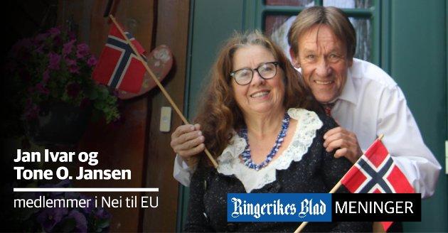 KJEMPER: – Vi kjemper sammen for Norge - og heier på Nei til EU, skriver Jan Ivar og Tone O. Jansen.
