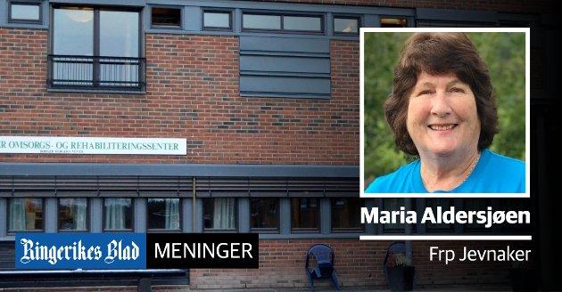 HVORFOR? – Det skal være noe levende og positivt ved et omsorgs- og rehabiliteringssenter, skriver Maria Aldersjøen (Frp), som er bekymret for budsjettforslag som berører Jevnaker omsorgs- og rehabiliteringssenter (JORS).