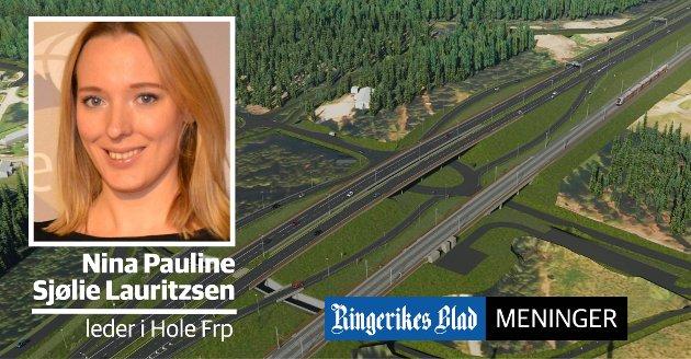 KRYSS: – Det vil være synd om kommunen ikke får dra større nytte av ny E16, skriver Nina Pauline Sjølie Lauritzsen (Frp).