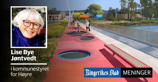 TRAMPOLINER: Elvelangs-prosjektet kan få nedsenkede trampoliner, så det blir mulig å trimme på veien ned mot Schjongslunden, mener Lise Bye Jøntvedt (H)