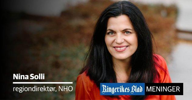 VIKTIGE: – Politikere fra Buskerud er svært viktige for utviklingen og jobbskapingen i regionen, skriver Nina Solli i NHO.