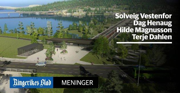 GARANTERER: – Det aller viktigste for oss er at Hareide og regjeringen så klart garanterer for at Ringeriksbanen/ E16 nå endelig kommer, skriver Solveig Vestenfor, Dag Henaug, Hilde Magnusson og Terje Dahlen.