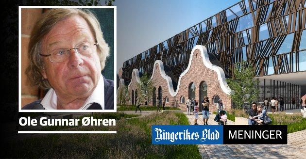 LEVENDE BY: – Jeg spør hvem og hva som vil gjøre Hønefoss til en levende by, skriver Ole-Gunnar Øhren. (illustrasjon: Snøhetta)