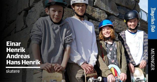 SKATERE: – Mange i Ringerike har ønsket seg en skatepark i Hønefoss lenge, skriver Einar Austgard (12), Henrik Austgard (10), Andras Bagaasen Mork (13) og Hans Henrik Færden (13).