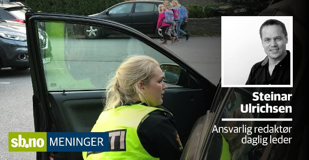 Torsdag gjennomførte politiet kontroll i Urianienborgveien ved Gokstad skole. - Jeg håper på flere slike, skriver ansvarlig redaktør og daglig leder Steinar Ulrichsen