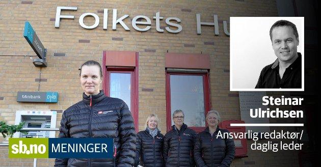 Anne Merete Sørensen (foran) er ny hovedtillitsvalgt i Fagforbundet Sandefjord - men måten hun ble valgt på er oppsiktsvekkende.  Bak fra venstre står områdetillitsvalgte Anne Jorid Strøm Svendsen (helse), Mette Clifton (skole og barnehager) og Hanne Slettvoll (teknisk).