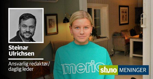 KLIKKET FEIL: Othilie Erlandsen (17) klikket på feil banan da hun skulle betale i selvbetjeningskassen på Meny. Da ble hun utestengt fra Farmandstredet i tre måneder og bedt om å skrive under på at hun forsøkte å stjele.