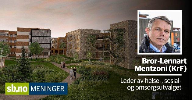 Totalt vil altså Nygård etter dette forslaget om påbygg og ombygging gi 180 sykehjemsplasser, skriver Bror-Lennart Mentzoni (KrF), leder i hovedutvalget for helse, sosial og omsorg.