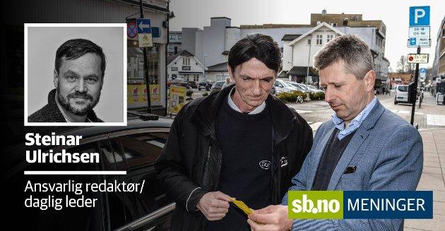 Taxisjåfør Ali Berisha og Thomas Bjanger er oppgitte over boten på 900 kroner for episoden utenfor Gullsaksen frisør.