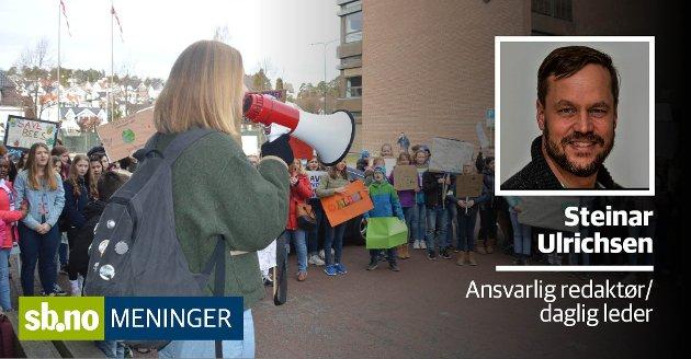 Forrige fredag streiket vel 1,5 millioner barn og unge verden over - for miljøet. Fredag var det Sandefjords tur.
