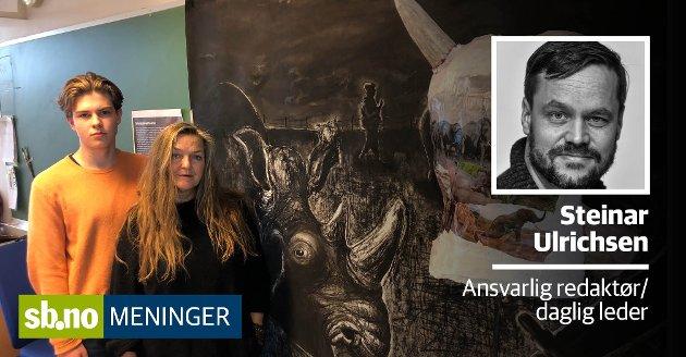 ELEV/LÆRER: Victor Wold og Nina Heum har rustet seg til kamp for å beholde kunst, design og arkitektur på Sandefjord videregående skole. Det gjør de lurt i.
