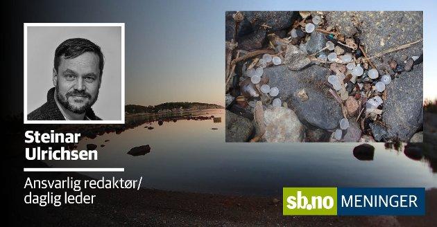 Oslofjorden Friluftsråd sier strendene i Sandefjord er befart og ryddet, men det ligger drøssevis med pellets igjen. Bildet er fra Strandinga sør på Vøra.