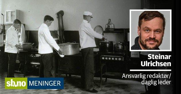 Fra innvielsen av det nye bygget til Sandefjord kokk- og stuertskole i Kirkegaten 2 i Sandefjord, januar 1917. Skolen ble grunnlagt i 1893.
