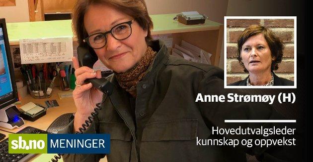 Britt Møller har vært sekretær på Store Bergan skole siden 1. januar 1994. Hun kjenner alle kriker og kroker av skoledriften, og håper hennes framtidige etterfølger også får være på skolen.  Anne Strømøy (H) argumenterer her hvorfor hun derimot vil opprettholde rådmannens forslag.