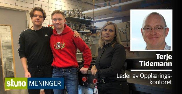 Lærer Marit K. Øien og elevene Jonas Haraldsen (t.v.) og Robert Omarsson er svært skuffet over fylkespolitikernes beslutning om ikke å til RM på SVGS fra neste år.