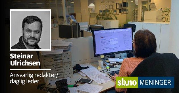 """Sandefjords Blad dekker stort og smått av det som er relevant for innbyggerne i Sandefjord. Men nå er rådmann Bjørn Gudbjørgsrud kritisk til avisas dekning av """"CV-saken"""" og """"Varslersaken""""."""