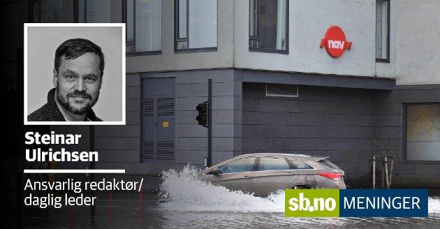 Fem ganger i vinter har vi har oversvømmelser i Sandefjord. Er hver enkelt i sær et bevis for at det foregår klimaendringer. Det er vanskelig å si, men det som er fakta er at Statens kartverk legger til grunn at innen 2100 vil havnivået ha steget med 50 centimeter eller kanskje mer. Det betyr hyppigere og mer alvorlige oversvømmelser.
