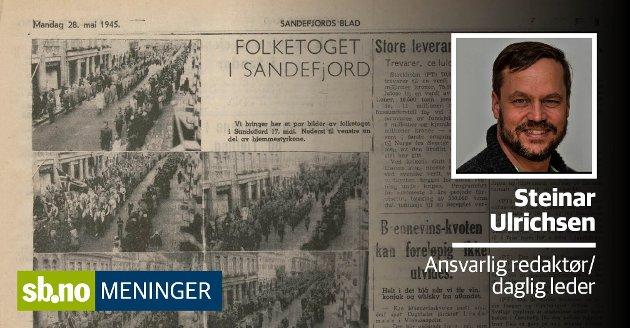 Slik så 17.mai-dekningen ut i Sandefjords Blad i 1945.