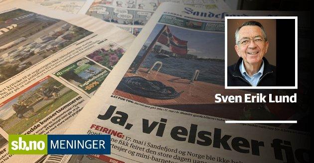 Sven Erik Lund betrakter ikke sb.no som en komplett avis. Her har vi avbildet papirutgaven som blant annet har tegneserier og radio/Tv-program.