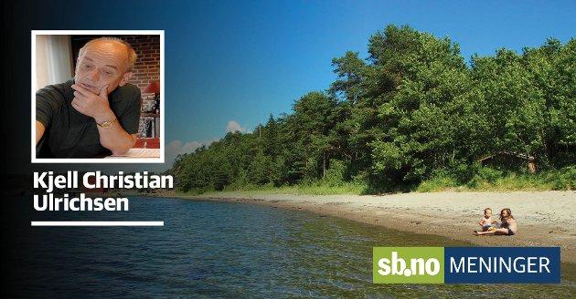 Engebukta er ofte omtalt som Sandefjord fineste. Her ble det, som antatt, en formidabel økning av antall turgåere og badende, skriver Kjell Christian Ulrichsen.