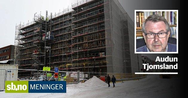 AAGAARDS PLASS: Igjen bygges det i Sandefjord. Denne gang lenger inne i byen. Tjomsland ser for seg at nybygget kan bli et signalbygg.