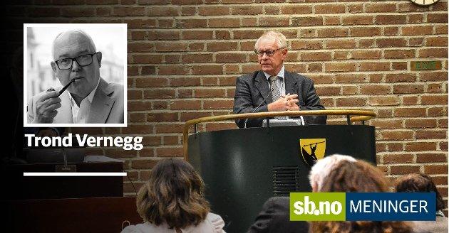 Tor Steinar Mathiassen (H) er gruppeleder for Høyre.  Trond Vernegg svarer her på et innlegg Mathiassen har fått publisert i papiravisen Sandefjords Blad.