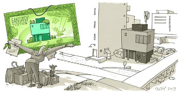 FORKSKJØNNES: Virkeligheten blir ikke alltid like grønn som arkitekttegningene viser.