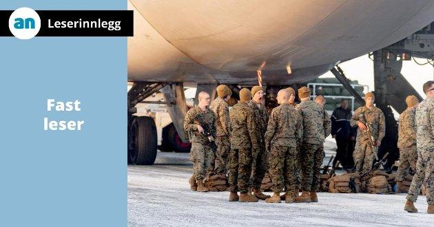 """Positivt med flere amerikanske soldater på norsk jord, skriver """"Fast leser""""."""